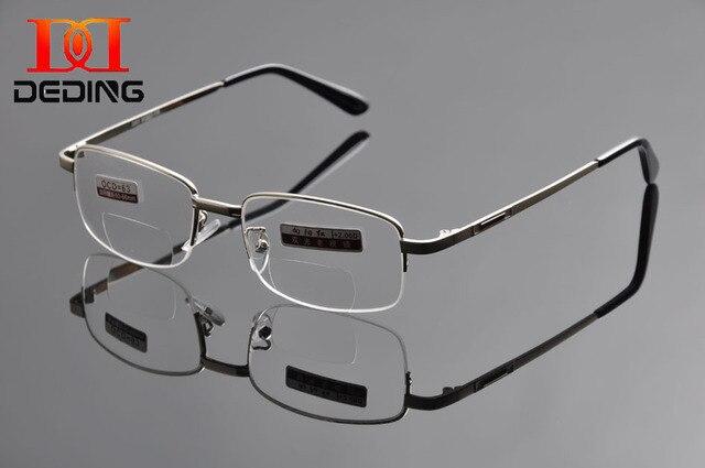 86fac64168 Deding marca metal del Mitad-borde hombres bifocales Gafas para leer  mujeres metal Gafas para