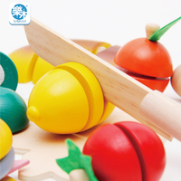 Wooden children's classic toys kitchen simulation vegetables cutting kitchen simulation cut fruits vegetables at home gif