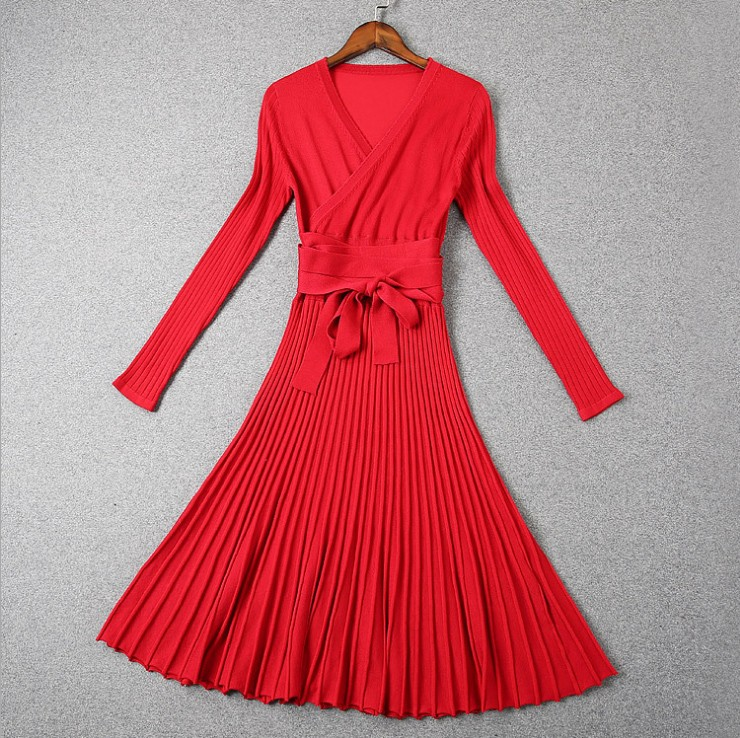 Long Sleeve V-neck Brief Solidy Knitting Knee-length Casual Dress 2