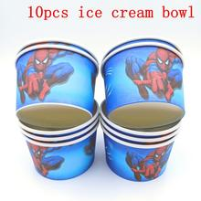 10PCS/LOT SPIDER ICE CREAM CUPS KIDS BIRTHDAY PARTY SUPPLIES SPIDERMAN HAPPY BOWLS WHOLESALE