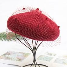 MIARA.L new woolen worsted painters hat British vintage lace mesh beret women elegant fashion