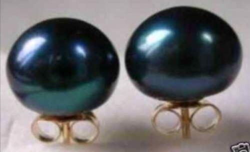 LIVRAISON GRATUITE vente CHAUDE nouveau Style>>>> énorme AAA + + + 12mm Mers Du Sud noir perle boucles d'oreilles avec 14 k