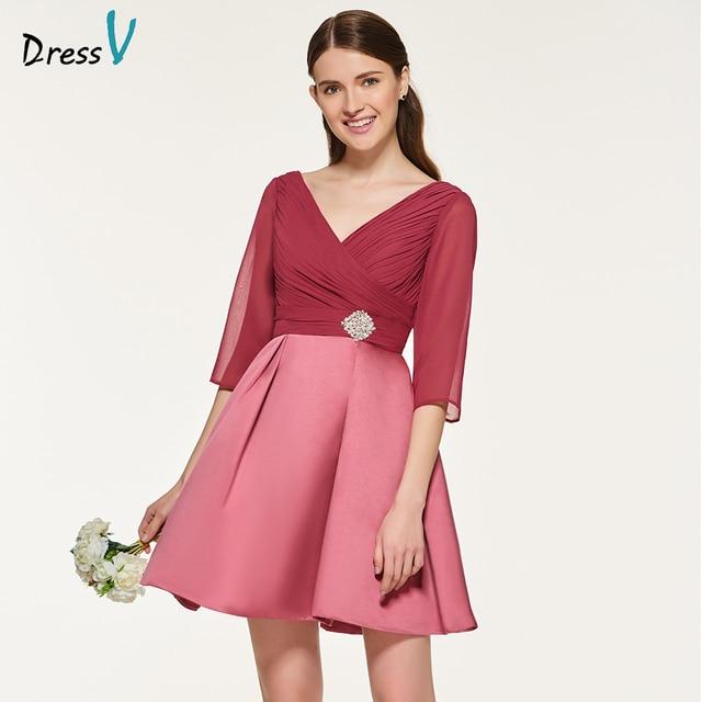 Dressv elegant maroon v neck pockets bridesmaid dress half sleeves ...