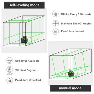 Image 3 - Huepar 12 خطوط ثلاثية الأبعاد عبر مستوى خط الليزر الأخضر شعاع الليزر الذاتي التسوية 360 الرأسي الأفقي مع جهاز استقبال ليزر LCD الرقمية