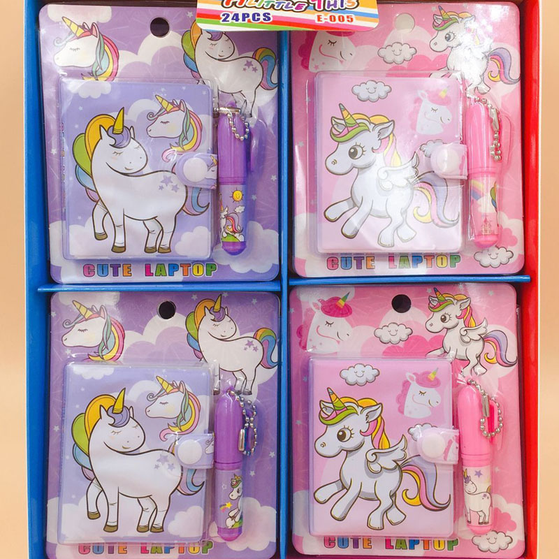 Kawaii Unicorn Set 1 Notebook+1 Ballpoint Pen Writing Diary Book Kids Gift Stationery Student Rewarding School Office Supply