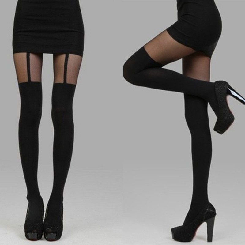 Black One Size Hot Sexy Sheer Pantyhose Mock Solid Stockings High Sexy Tight Stocking for Girl New Arrival image