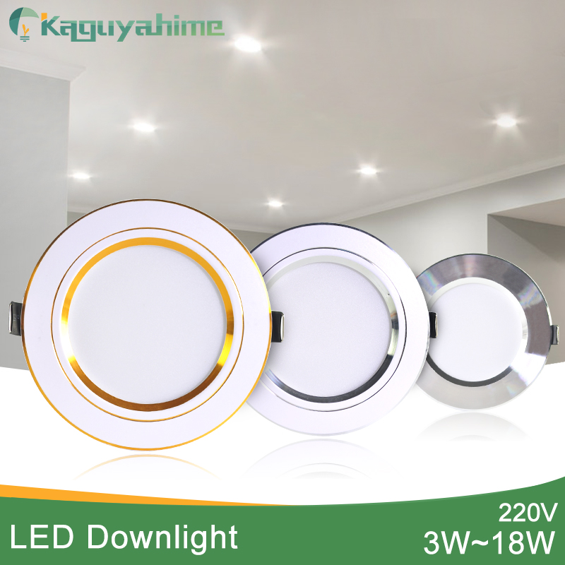Kaguyahime Ultra Thin Driver Inside 220V LED Downlight 18W 15W 9W 5W 3W Round Recessed Lamp LED Lamp Warm White Indoor LED Light