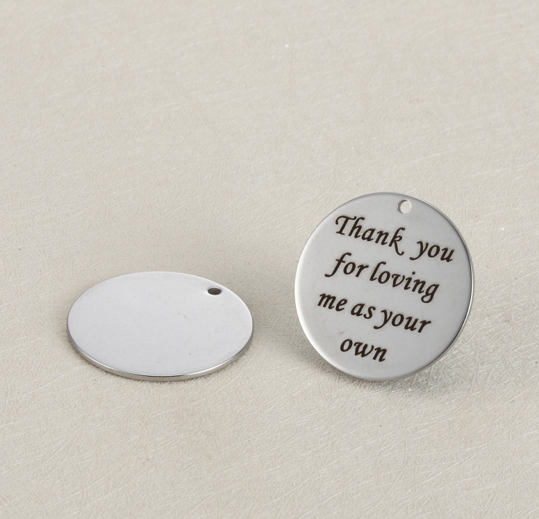 20pcs/lot 25mm Stainless Steel Charms Engraved Thank you for loving me as your own For Diy Jewellery Making