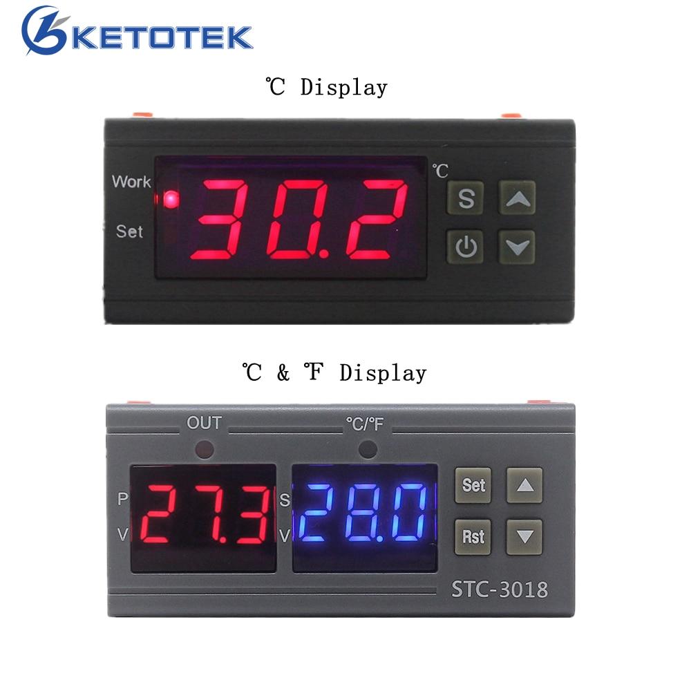 Kt1210w STC-3018 digital termorregulador termostato controlador de temperatura com sensor ntc aquecimento e controle refrigeração