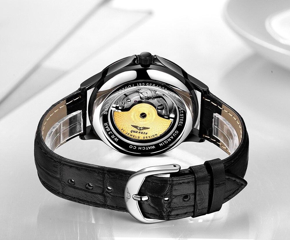 HTB1WCffdjfguuRjy1zeq6z0KFXam GUANQIN 2019 new watch men waterproof Automatic Luminous men watches top brand luxury skeleton clock men leather erkek kol saati