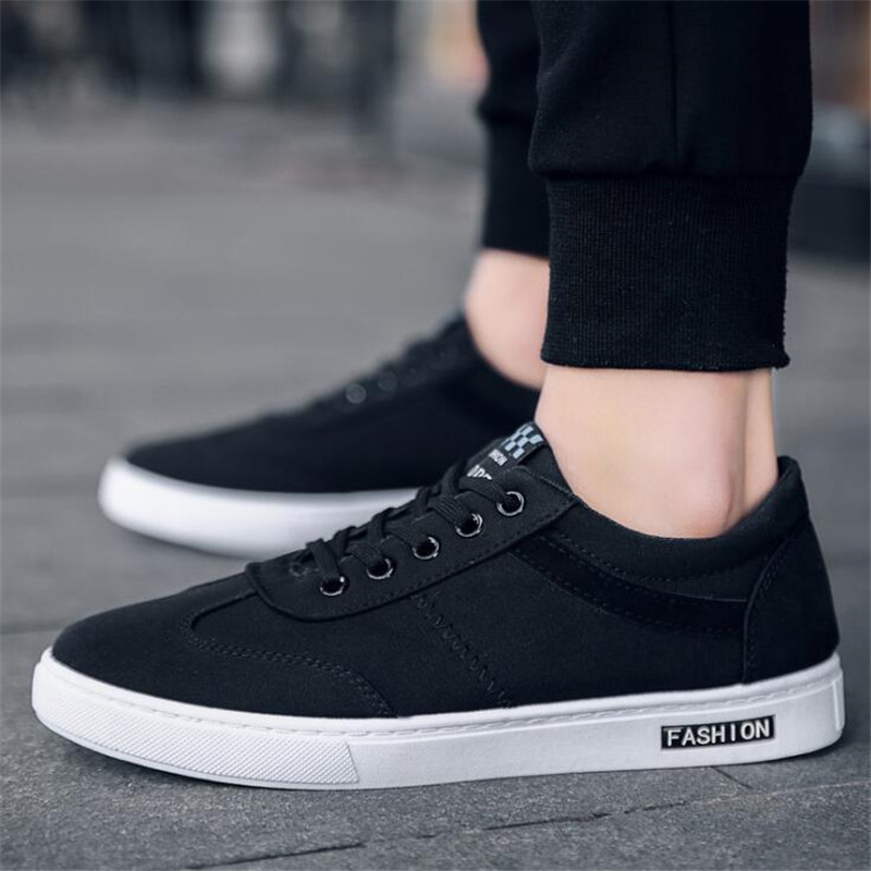 46dc345268a US $15.7 52% OFF|QIAOJINGREN New 2018 Spring Summer Canvas Shoes Men  Sneakers Low top Black Shoes Men's Casual Shoes Male Brand Fashion  Sneakers-in ...