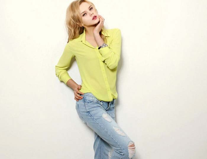 1PC Women Chiffon Blouse Long Sleeve Shirt Women Tops Office Lady Blusas Femininas Camisas Mujer Z231 8