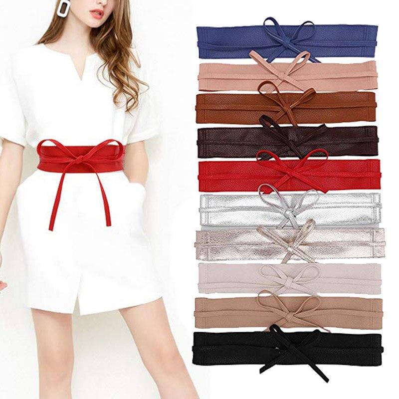 Women Chic Designer Wide Slimming Girdle Faux PU Leather Bow Tie Ladies Waistband Waist Strap Cummerbund For Dress