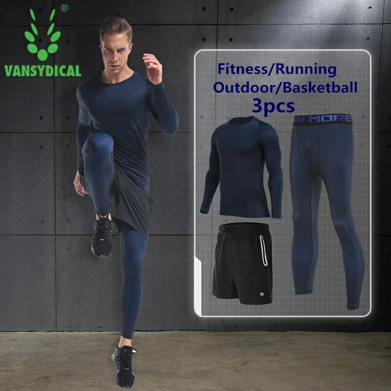 3PCS Compression Quick Dry Tight Tracksuit Men Training Fitness Long Sleeve Shirt Pants Male O Neck Gym Running Set Sport Suit