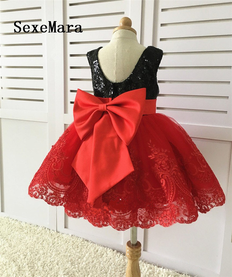 Black Sequins Lace Back Couture Flower Girl Dress Baby Girls Birthday Party Dress Toddler Pageant Dress with Bow ivory rustic girls dress country western party girls clothing lace baby clothes toddler flower girls dress with bow