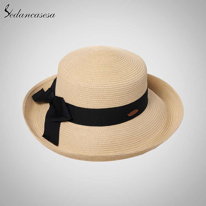 Sedancasesa طوي قبعة الشمس الإناث الصيف النساء الشاطئ الشباك قبعات من القش للنساء Bowknot UV حماية السيدات واسعة حافة لفة قبعة