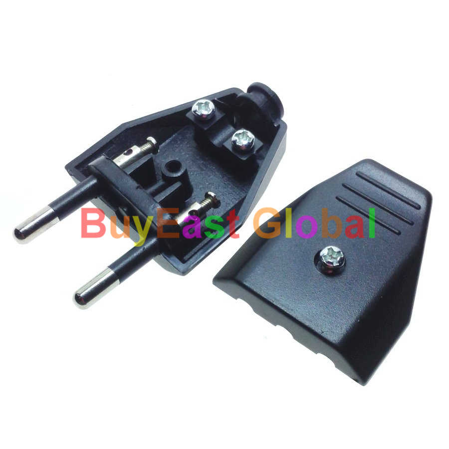 3 PCS Europlug EU Type C 4mm Pin Rewireable Power Plug 220V 2.5A Black