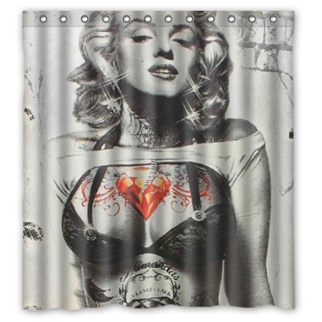 Badkamer Douche Gordijnen Marilyn Monroe Tattoo 180x180 cm ...