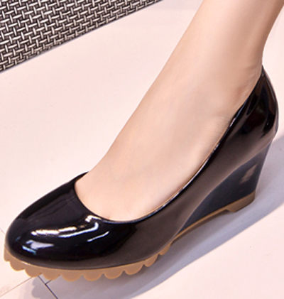 Basic Patent Pu Leather Women Wedges Shoes Lady Work Office Career Round Toe Slip On Pumps