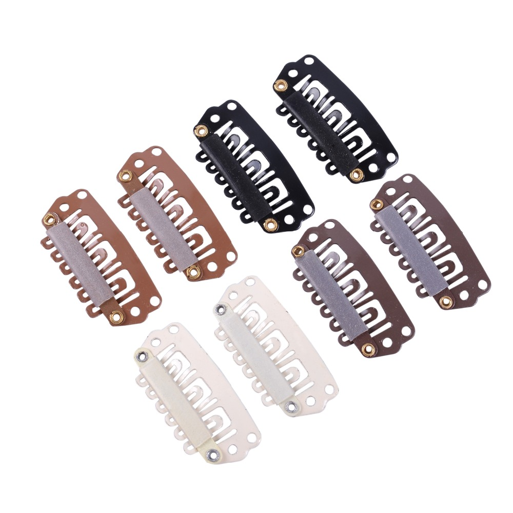 1000pcs/lot 28mm U Tip Snap Metal Clips With Silicone Back For Hair Extensions/Wig/Weft Hair Extension Tools 1000pcs 1 4w metal film resistors 750kohm 1