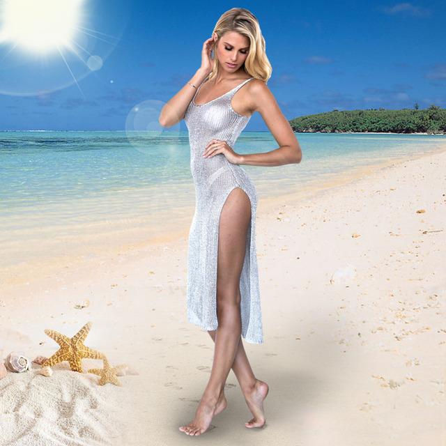 2017 Pareo Beach Cover Up High Split Long Sleeveless Mesh Dress Swimwear Women Robe De Plage Baech Wear Bathing Suit Cover Ups