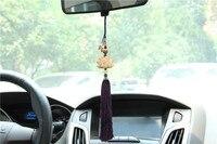 Car Handmade Sculpture Ornaments Pendant Jewelry Boxwood Lotus Buddha Beads Safeguards Rear view Mirror Car Interior Decoration