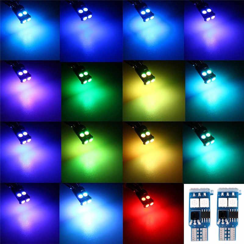 2 × T10 rgb 6 smd 5050 led車の自動車ウェ側光幅ライトインテリア読書ランプ電球リモート制御高品質