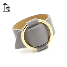 RE High Quality Fashion Women Leather PU Bracelet Bangles Jewelry Light Gold Color Charm Multicolor Bracelets New Design