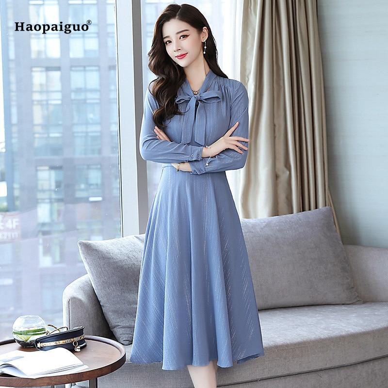 Women Solid Plus Size A-line Dress 2018 Autumn Blue Long Sleeve V-neck Bow Elegant Work Dress Modis Korean Office Party Dresses