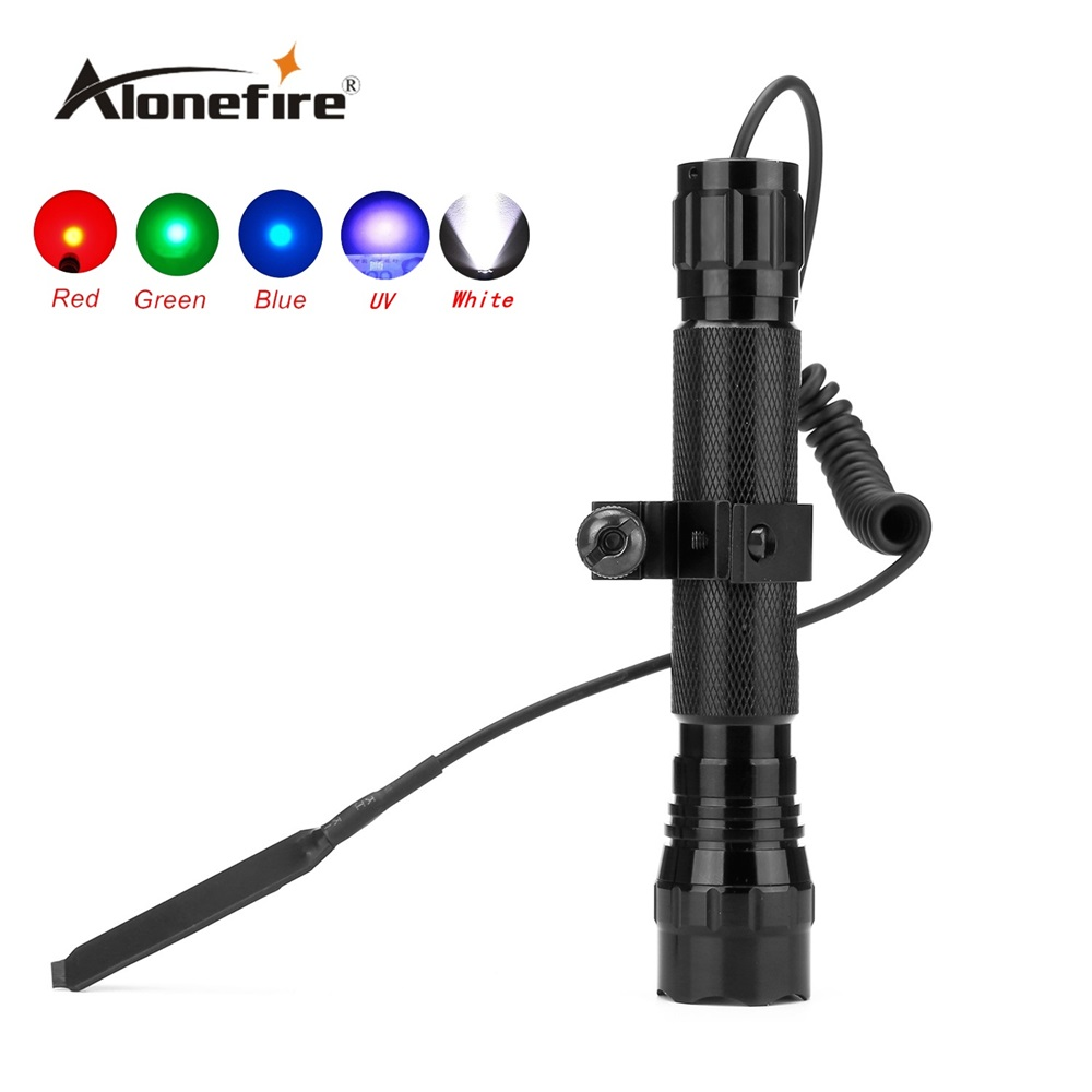 AloneFire 501C Tactical LED Flashlight Handheld Torch Water Resistant Lamp for Outdoor Sports+scope mount+remote pressure switch