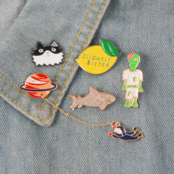 Lovely Collection ! Cat and Fish Astronaut and Saturn Slightly Bitter Lemon Halloween Zombie Enamel Brooch Lapel pin Metal badge