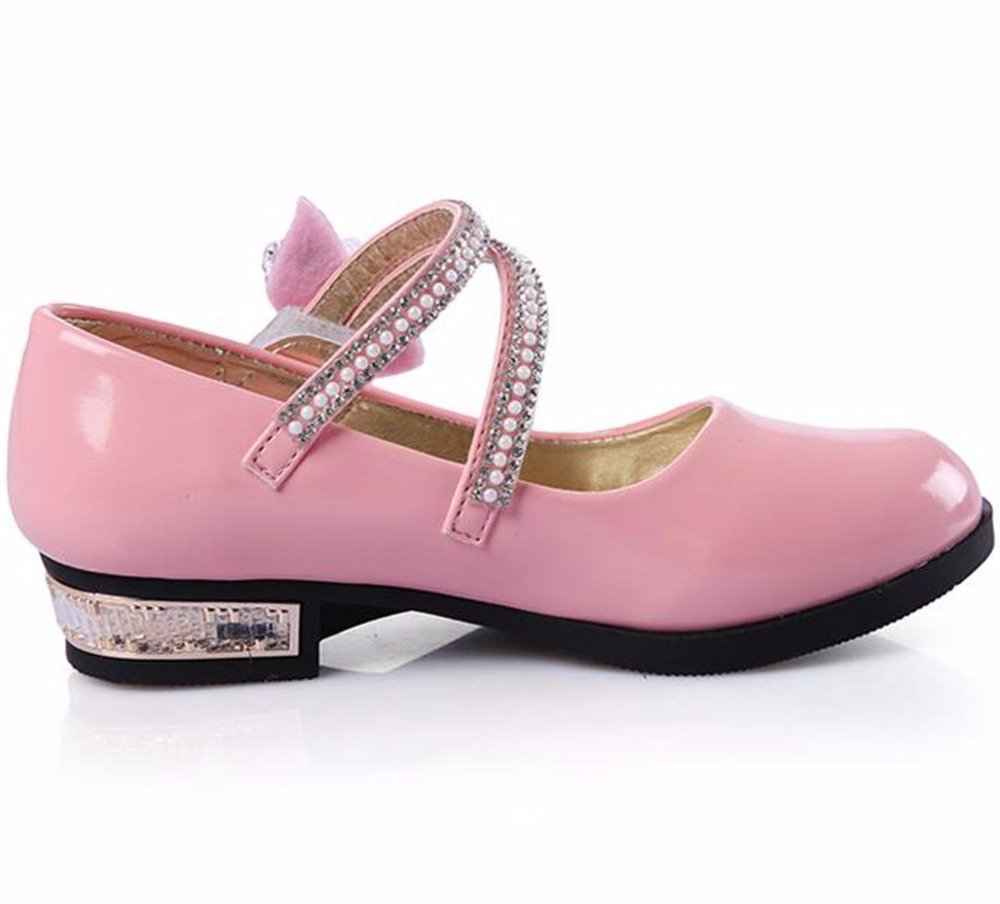 6b931b48a766 2018 ADingshine Children Heels Patent Leather Flower Girl Wedding Party  Shoes White Pink Black School Shoe Girls Princess Sandal-in Leather Shoes  from ...