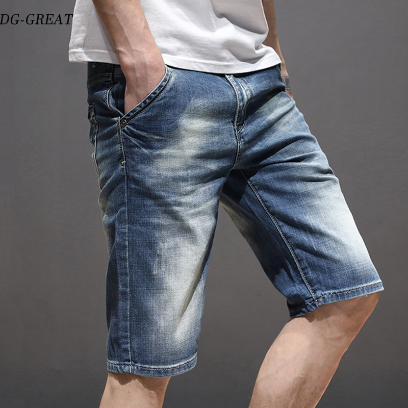 2019 Summer Brand Stretch Thin High Quality Cotton Denim Jeans Male Short Men Knee Length Soft Blue Casual Shorts Jeans Male