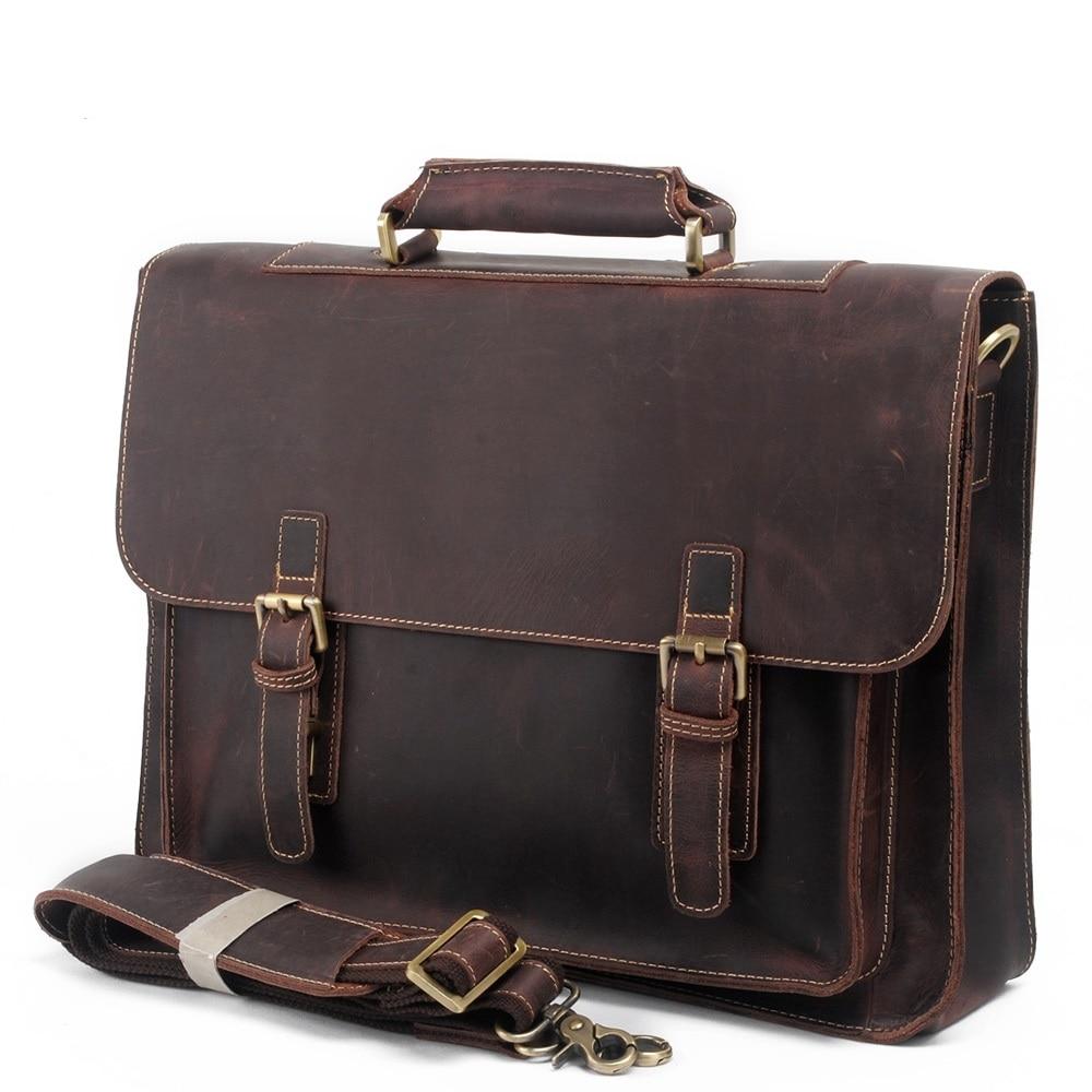 European and American handbags crazy horse first layer leather handbag shoulder cross body Business briefcase computer bag 8017
