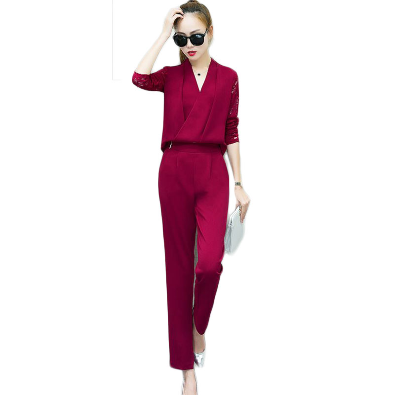 Fashionable Women V Neck Shirt Pants Suit New 2016 Autumn Korean - Women's Clothing - Photo 1