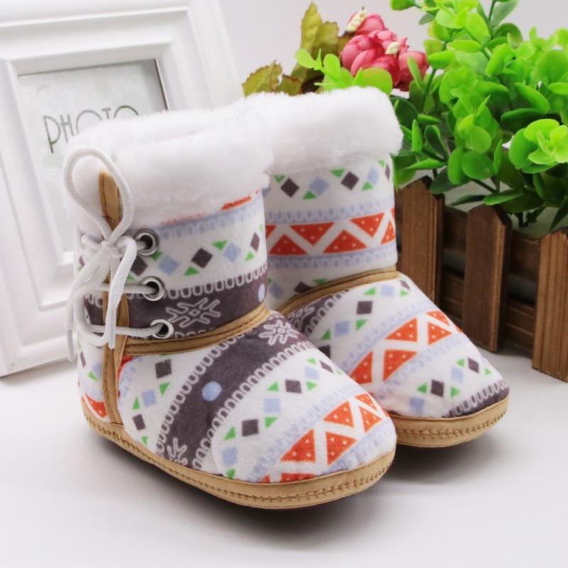 1 Pair 0-18M Autumn Winter Warm Fleece Snow Boots For Baby Girl Boy Anti-silp Prewalker Bootie Shoes