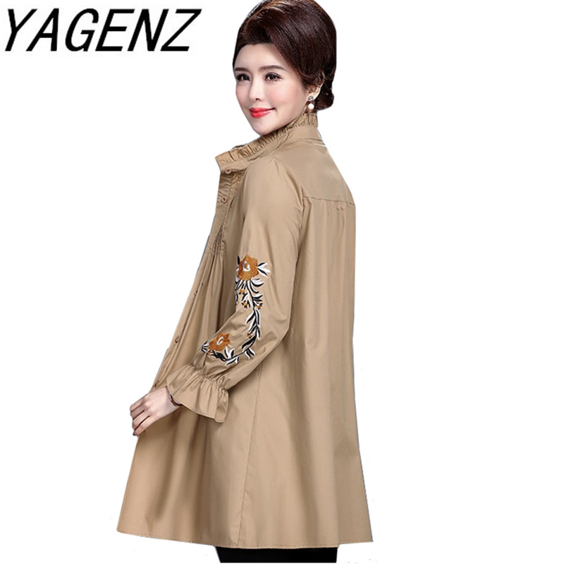 Middle-aged old Women Loose Windbreaker Coat Plus size Large size Embroidery Thin Trench Single-breasted Female Casual Top 5XL