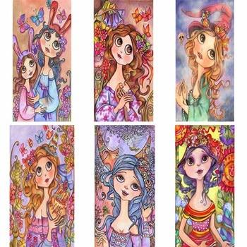 5D Diy diamante pintura ilustración bordado Kits Cristal Diamantes de imitación imagen diamante mosaico completo mariposa chica regalos artesanía