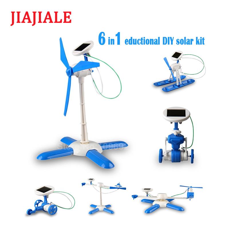 US $9 8 |6in1 education DIY solar kit solar robot solar wheeler helicopter  plane airboat solar windmill drive-in Model Building Kits from Toys &