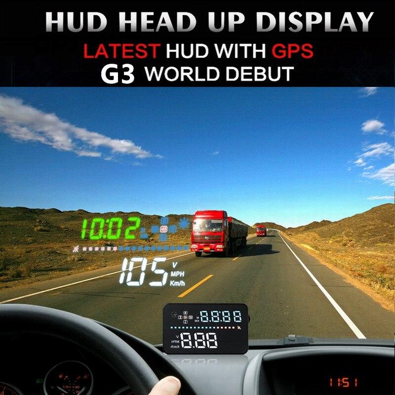 Voiture G3 HUD 3.5 écran GPS compteur de vitesse OBD affichage tête haute Auto pare-brise numérique projecteur de vitesse MPH alarme de survitesse