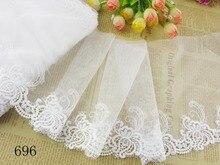 """Didmeninė prekyba """"Lot 7"""" * 1yard Delicate White Išsiuvinėta gėlių tulla Nėrinių apdaila DIY 696"""