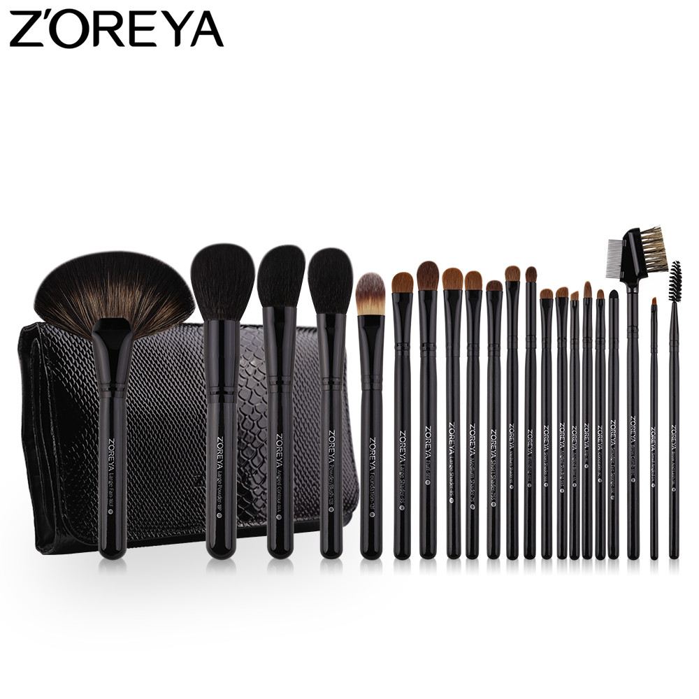 ZOREYA набор кистей для макияжа Соболь волос 21 шт. Professional Макияж кисточка для тональной крем-пудры Румяна Тени для век кисточки