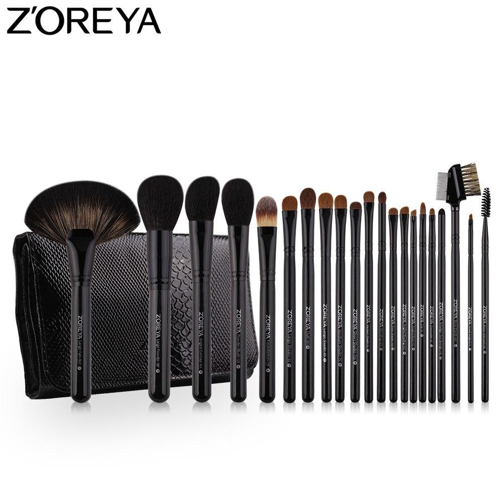 ZOREYA Make Up Brush Set cheveux de sable 21 pièces Professionnel Maquillage Brosses Poudre fard à fond de teint pinceau pour les yeux