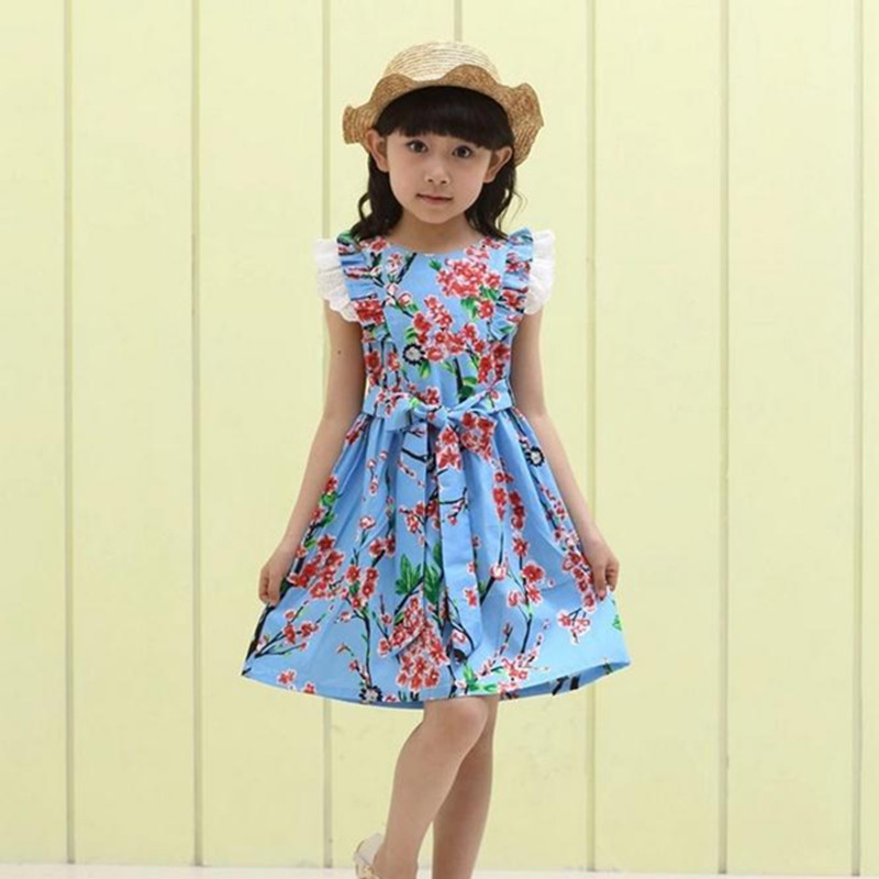 Summer Dress 2018 Dresses For Girls of 12 years Sleeveless Printed Big Size Princess Dress Teenagers Kids Clothes summer girl dress 2016 kids dresses for girls of 12 years sleeveless printed big size black dress teenagers girl dresses robe14
