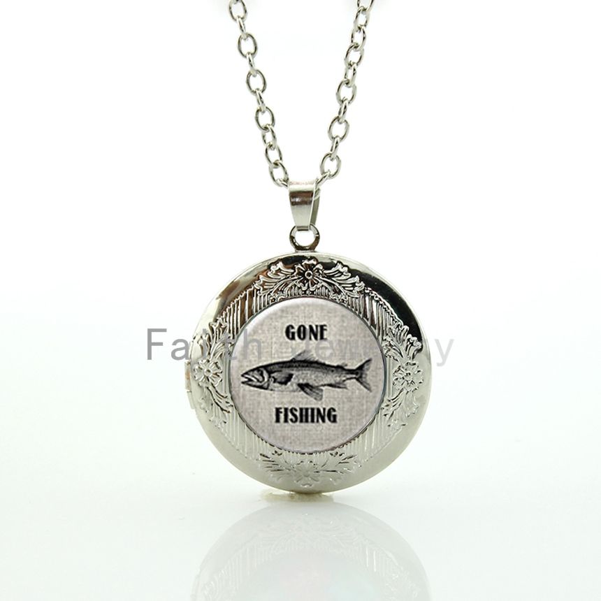 Vintage tone fish character picture pendant Gone Fishing locket