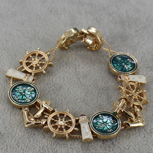 Clic Las Gold Tone Bracelets Nautical Anchor Wheel Comp Lighthouse Bracelet For Women Free Shipping