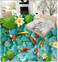 Waterproof Floor Mural Painting Nine Fish Lotus Bathroom 3D Wall Murals Wallpaper Floor Home Decoration