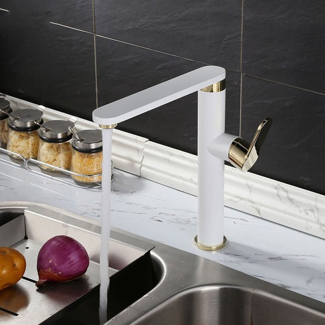 Remarkable Us 156 34 49 Off Contemporary White Gold Brass Tall Bathroom Kitchen Lavatory Vanity Vessel Sink Faucet Basin Mixer Tap Faucet Extended Spout In Home Remodeling Inspirations Genioncuboardxyz