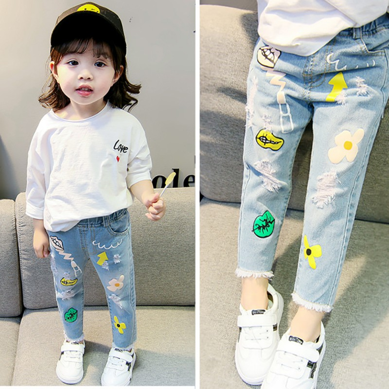 Summer Children Girls Cartoon Print Ripped Jeans Trousers Kids Casual Baby Denim Pants(China)