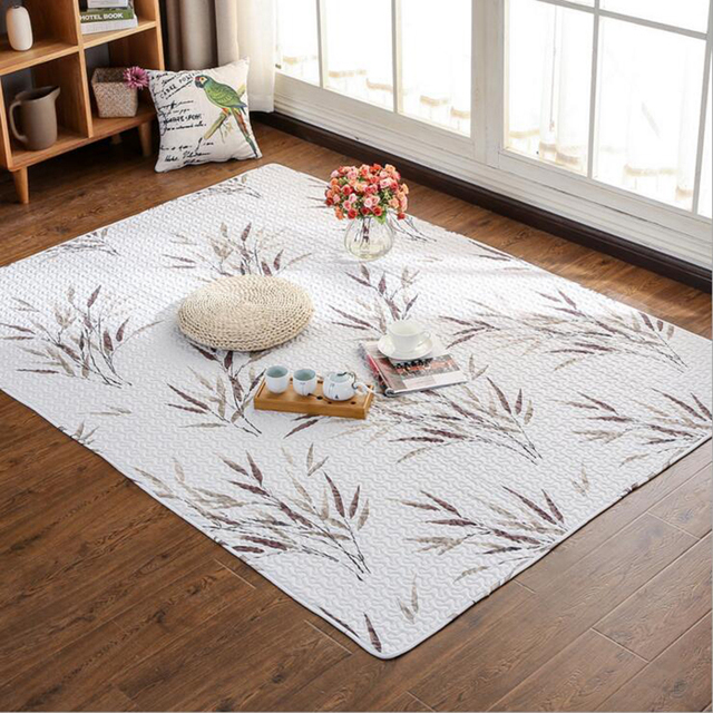 Simple Modern 100% Cotton Area Rug For Living Room Floral Printed Rugs Kids  Thick Rectangular Sofa Coffee Table Non Slip Mats